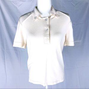 Oscar de la Renta Tops - OSCAR DE LA RENTA silk-blend polo shirt